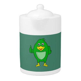 small green bird design novelty teapots