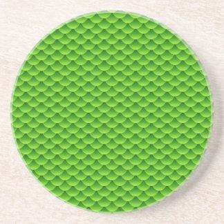 Small Green Fish Scale Pattern Coaster