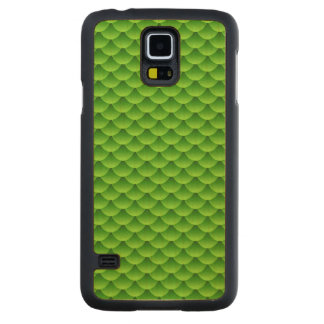 Small Green Fish Scale Pattern Maple Galaxy S5 Slim Case