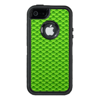 Small Green Fish Scale Pattern OtterBox Defender iPhone Case