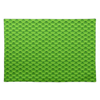 Small Green Fish Scale Pattern Placemats