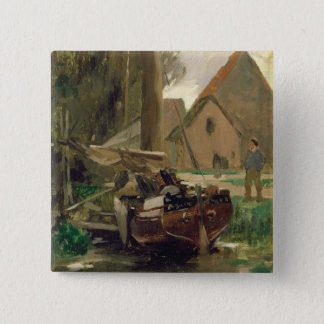 Small Harbour with a Boat 15 Cm Square Badge