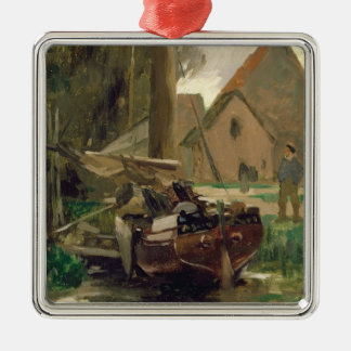 Small Harbour with a Boat Silver-Colored Square Decoration