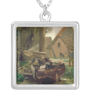 Small Harbour with a Boat Silver Plated Necklace