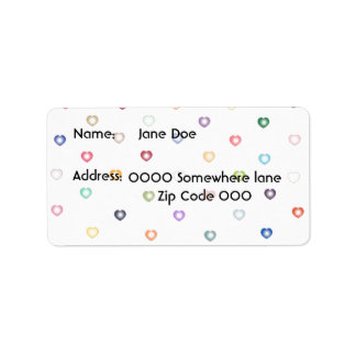 Small hearts of colors address labels