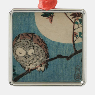 Small Horned Owl on Maple Branch under Full Moon Silver-Colored Square Decoration