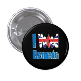 """Small """"I Voted remain"""" in the EU referendum 3 Cm Round Badge"""
