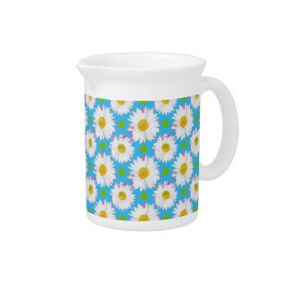 Small Jug or Pitcher: Daisies, Polkas, Turquoise Pitcher