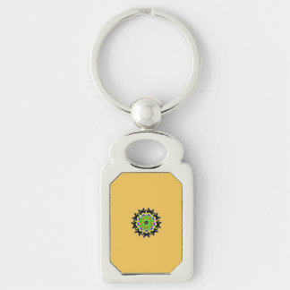 Small kaleidoscope abstract pattern Silver-Colored rectangle key ring