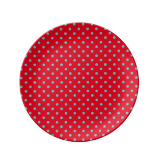 Small Light Teal Polka Dots on Bright Red Plate