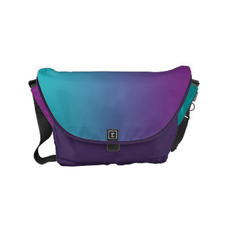 "Small Messenger Bag: ""PURPLE & TEAL OMBRE"" Courier Bag"