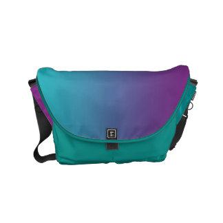 "Small Messenger Bag: ""TEAL & PURPLE OMBRE"" Messenger Bag"