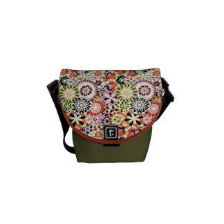 Small Messenger Tote Bag Reto Fabric Design 60's Messenger Bags