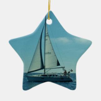 Small Modern Yacht Christmas Ornament