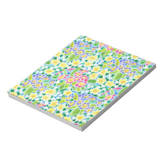 Small Notepad or Jotter, Pretty Primroses Pattern