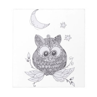 Small owl with moon notepad