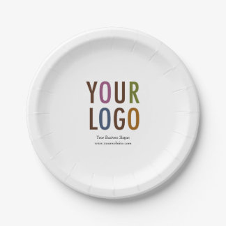 "Small Paper Plate 7"" with Custom Logo Branding"