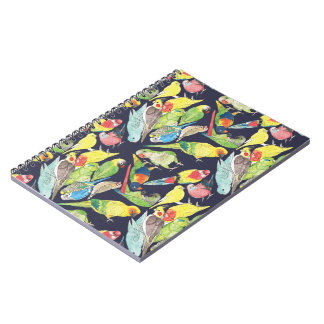 Small Parrots Pattern Spiral Notebook