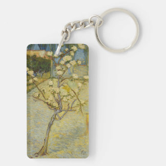 Small pear tree in blossom Double-Sided rectangular acrylic key ring