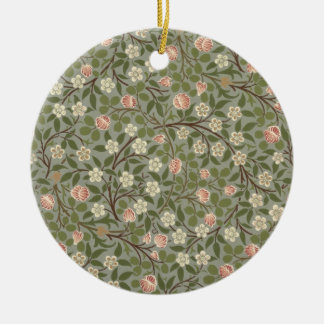 Small pink and white flower wallpaper design christmas ornament