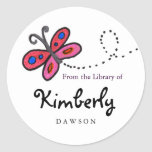 Small Pink Butterfly Book Labels Round Stickers