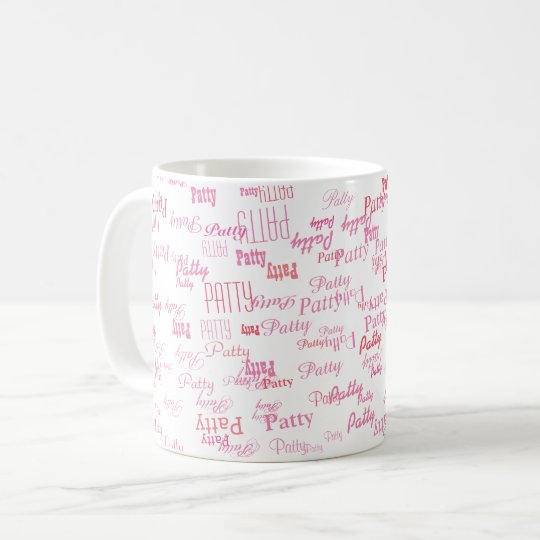 small pink names typography mug for her