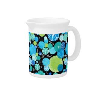 Small Pitcher, Jug, Blue Moons Quirky Pattern Pitcher
