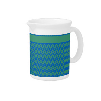 Small Pitcher or Jug, Emerald and Blue Geometric