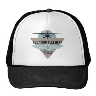 Small Plane Club Your Text Here Hats
