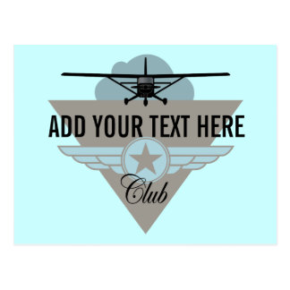 Small Plane Club Your Text Here Post Card