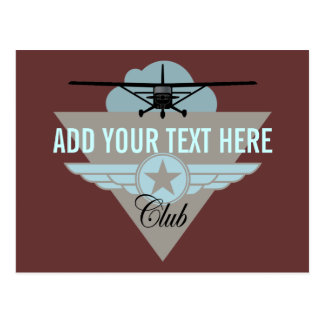Small Plane Club Your Text Here Postcard
