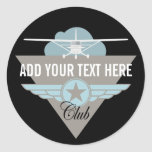 Small Plane Club Your Text Here Round Stickers