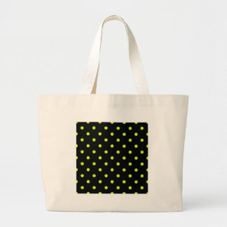 Small Polka Dots - Fluorescent Yellow on Black Jumbo Tote Bag