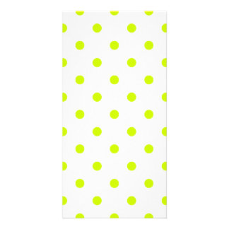 Small Polka Dots - Fluorescent Yellow on White Photo Cards