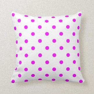 Small Polka Dots - Fuchsia on White Cushion