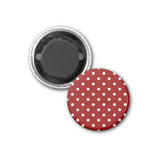 Small Polka Dots - White on Dark Red 3 Cm Round Magnet