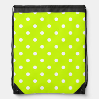 Small Polka Dots - White on Fluorescent Yellow Drawstring Backpacks