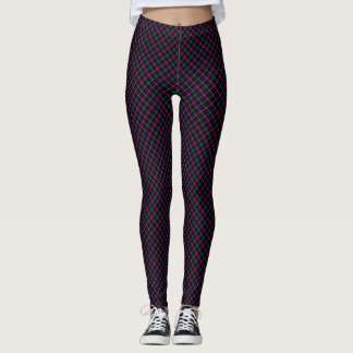 Small Print Argyle Pink and Blue Neon on Black Leggings