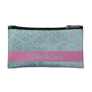 Small Purple Teal Damask Cosmetic Bag Monogram