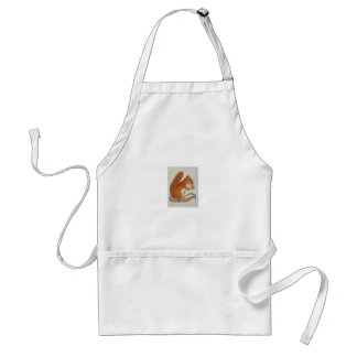 Small Red Squirrel via watercolor animal aceo Standard Apron