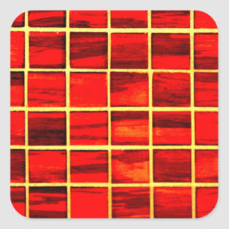 Small Red Tiles Background Square Sticker