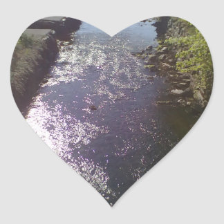 Small river going to the sea heart sticker