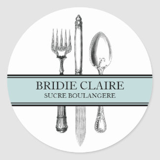 Small Round Elegant Cutlery Stickers
