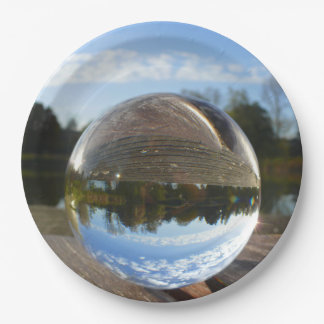 Small sea seen through a crystal ball 9 inch paper plate