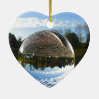 Small sea seen through a crystal ball ceramic heart decoration