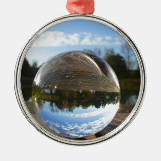 Small sea seen through a crystal ball Silver-Colored round decoration