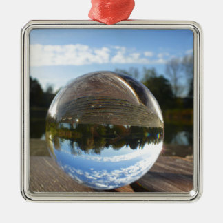 Small sea seen through a crystal ball Silver-Colored square decoration