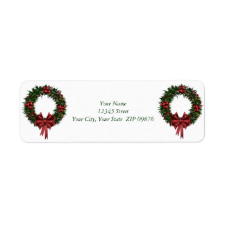 Small Self-Stick Wreath Address Labels