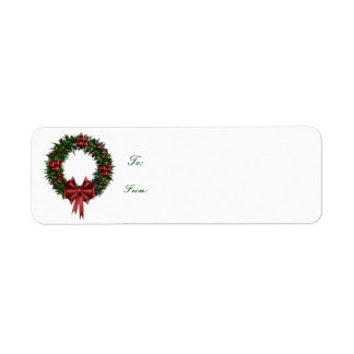 Small Self-Stick Wreath Gift Tag Labels