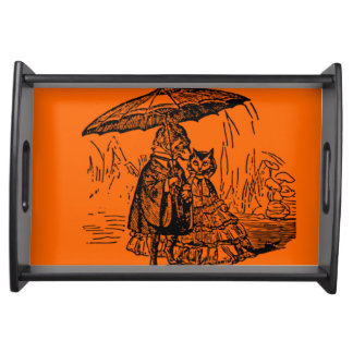 Small Serving Tray, Black cat and the dog Serving Tray